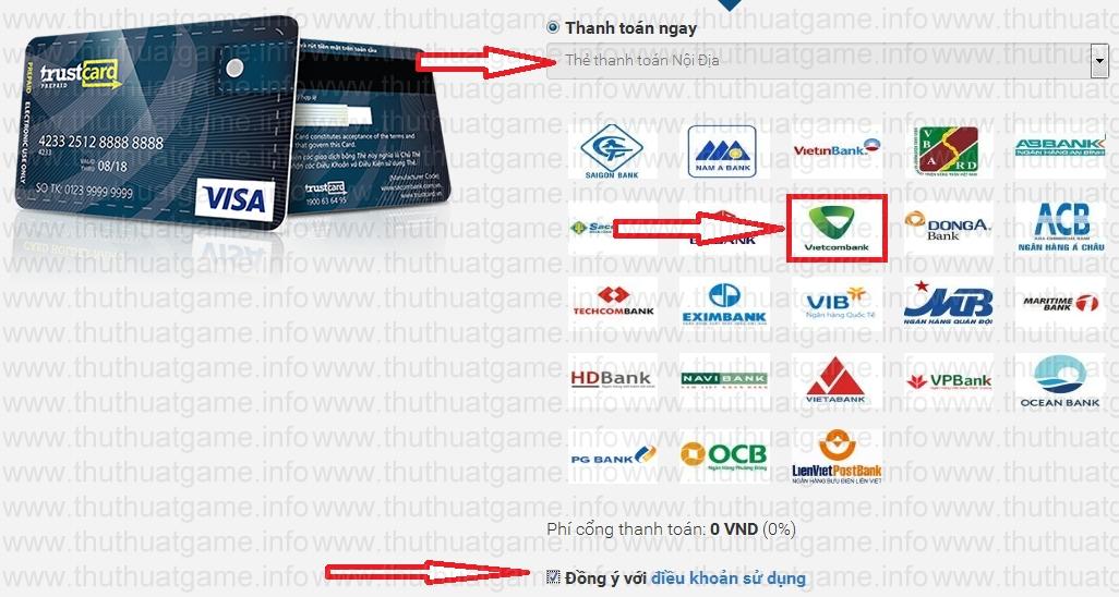 Trang kế tiếp là chọn phương thức thanh toán, chọn loại Thẻ thanh toán nội  địa nhé, chỉ có cổng này là nhận thẻ tự động được ngay sau khi thanh toán  ...
