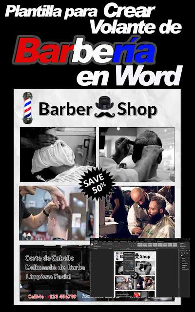 Plantilla para crear un volante o banner publicitario para una barbería o peluquería