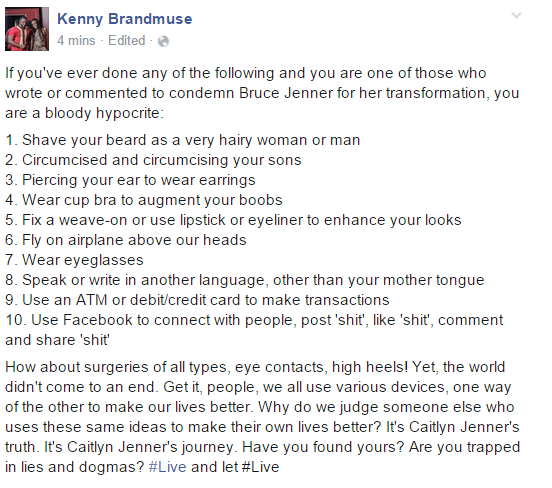 Nigerian Gay activist Kenny Brandmuse supports Caitlyn Jenner with post.