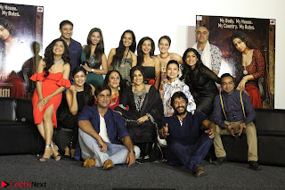 Vidya Balan with Ila Arun Gauhar Khan and other girls and star cast at Trailer launch of move Begum Jaan 019.JPG