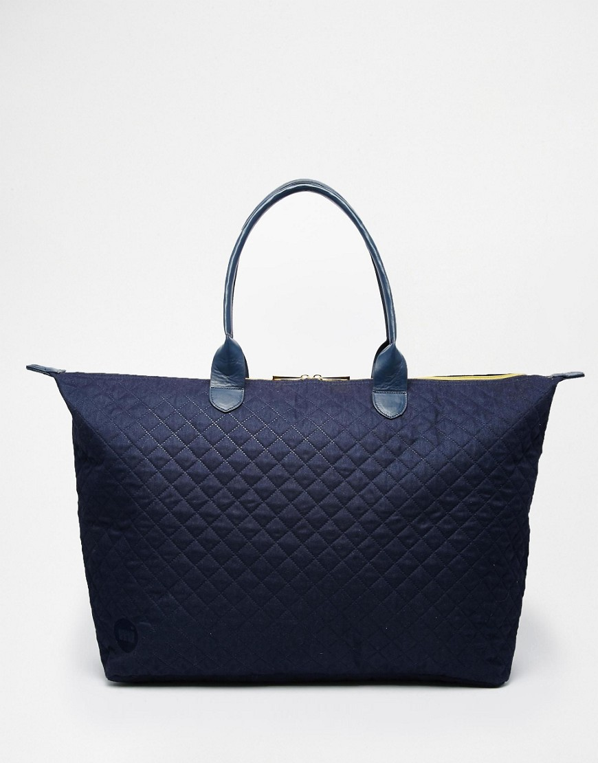 Quilted Navy Blue Tote