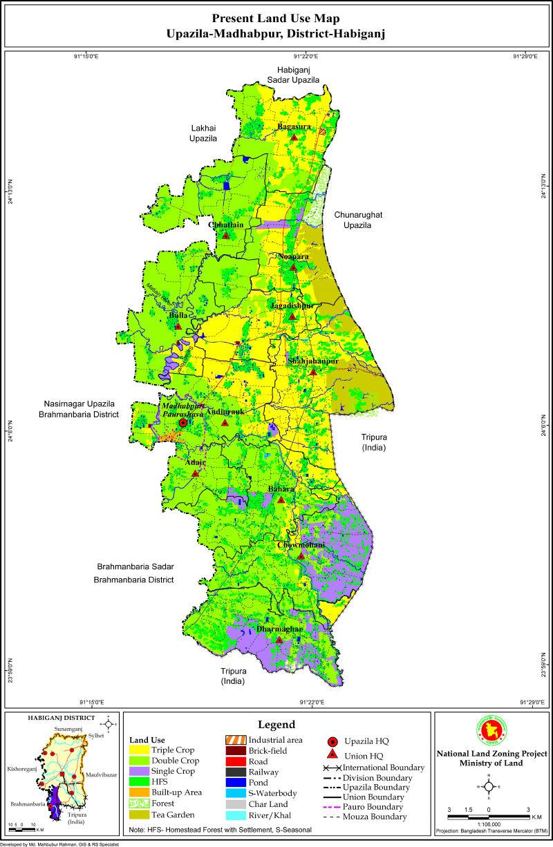 Madhabpur Upazila Mouza Map Habiganj District Bangladesh