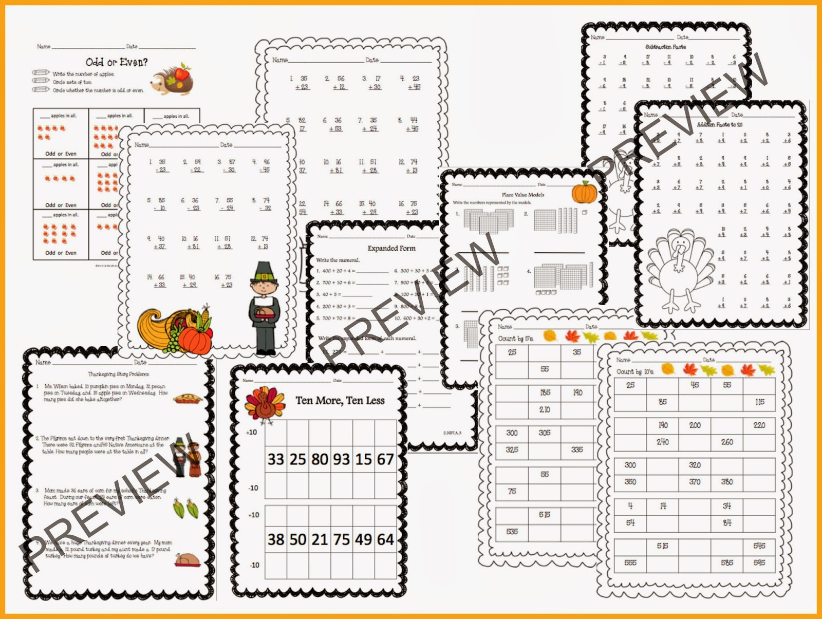 Thanksgiving Math Centers And Printables Amp A Giveaway