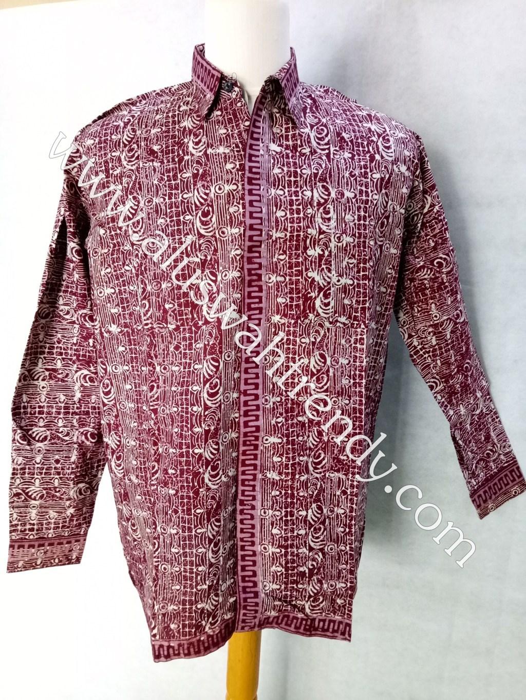 Kemeja Batik Lengan Panjang Merah Marun 016
