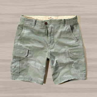 New Hollister by Abercrombie Men Cargo Shorts Classic Fit At Knee Size Vintage