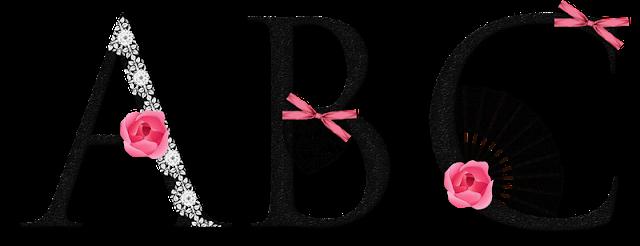 Alfabeto muy Femenino con Abanicos y Rosa Rosada.