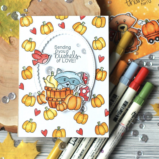 Fall card by Svetlana Pavlova | Bushels of Love Stamp Set by Newton's Nook Designs #newtonsnook #handmade