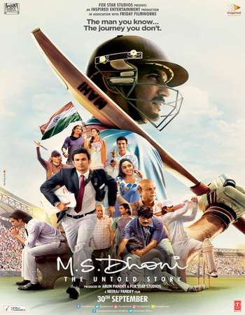 Poster Of M.S. Dhoni: The Untold Story 2016 Hindi 720p   Watch Online Free Download world4ufree.org