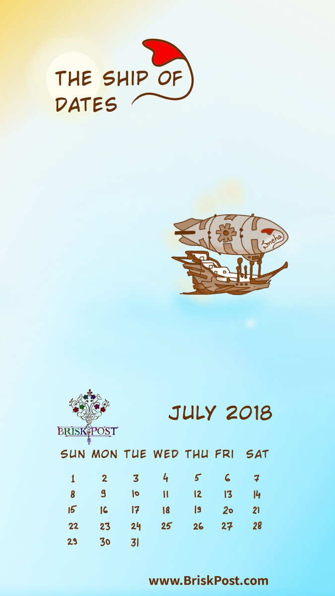 July 2018 calendar with big deep sea ship in green water cartoon illustration and blue-white background;   calendar type: monthly view, mobile wallpaper;  cartoon calendar template: the ship of dates
