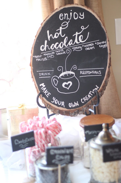 hot cocoa bar for bridal shower or baby shower