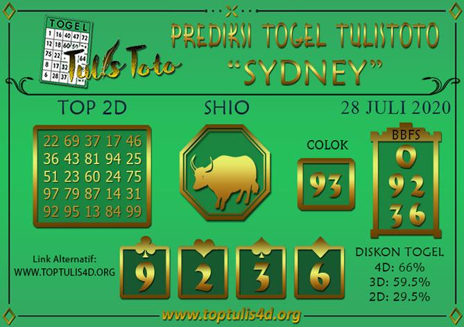 Prediksi Togel SYDNEY TULISTOTO 28 JULI 2020