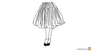 Urocza szeroka spódnica i buty niekoniecznie ślubne - rysunek.
