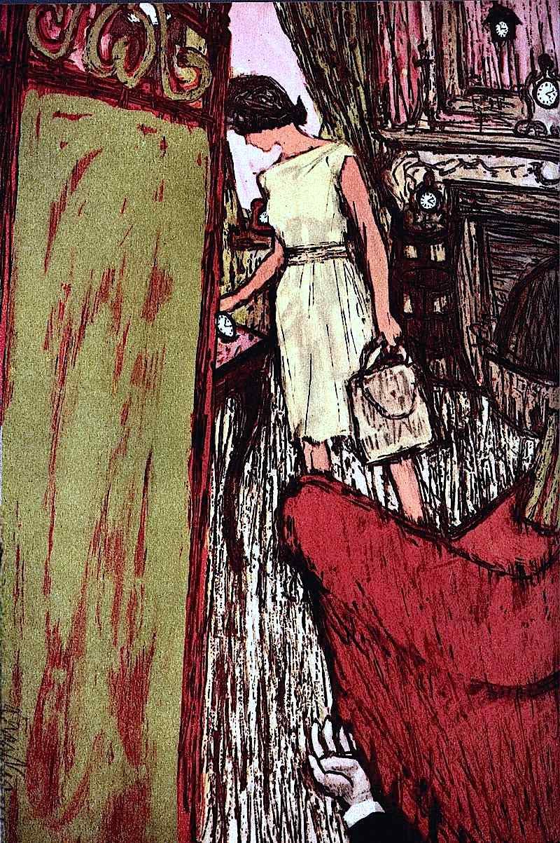 an Al Parker illustration of a crime scene with clocks