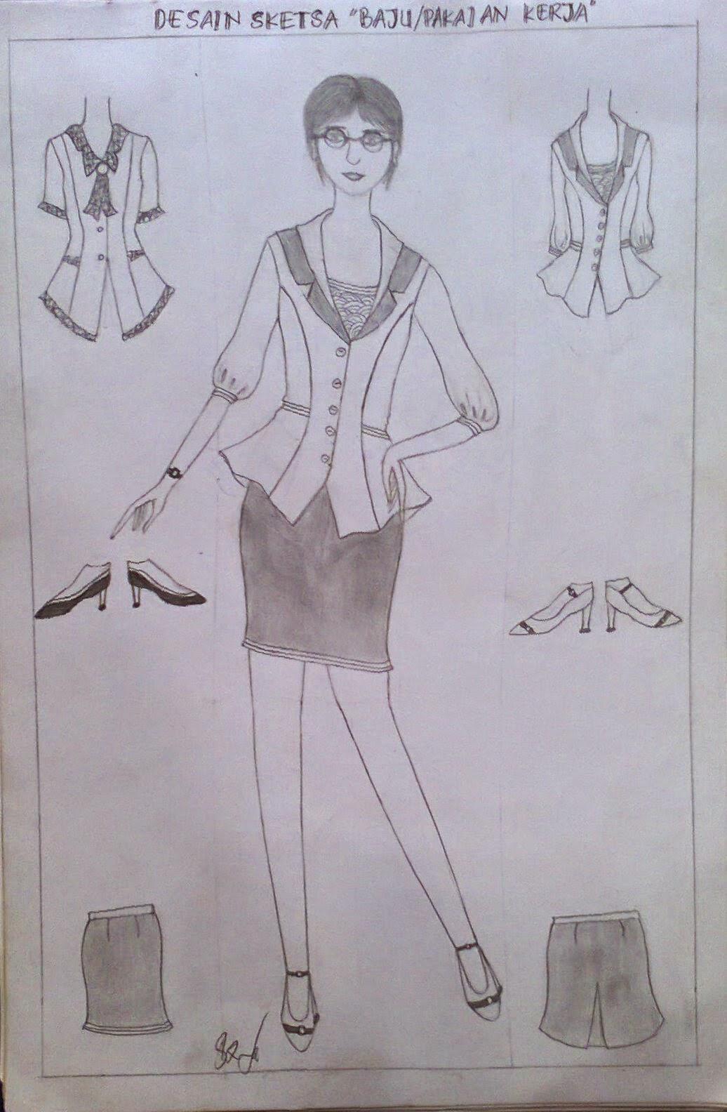 Gambar Sketsa Desain Baju Kerja