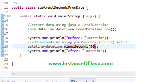 Java 8 date add n seconds to current date example program