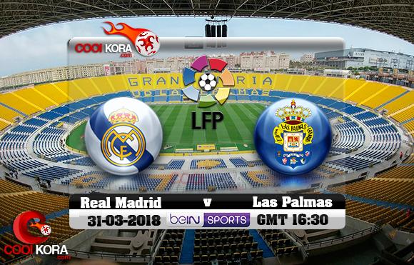 مشاهدة مباراة لاس بالماس وريال مدريد اليوم 31-3-2018 في الدوري الأسباني