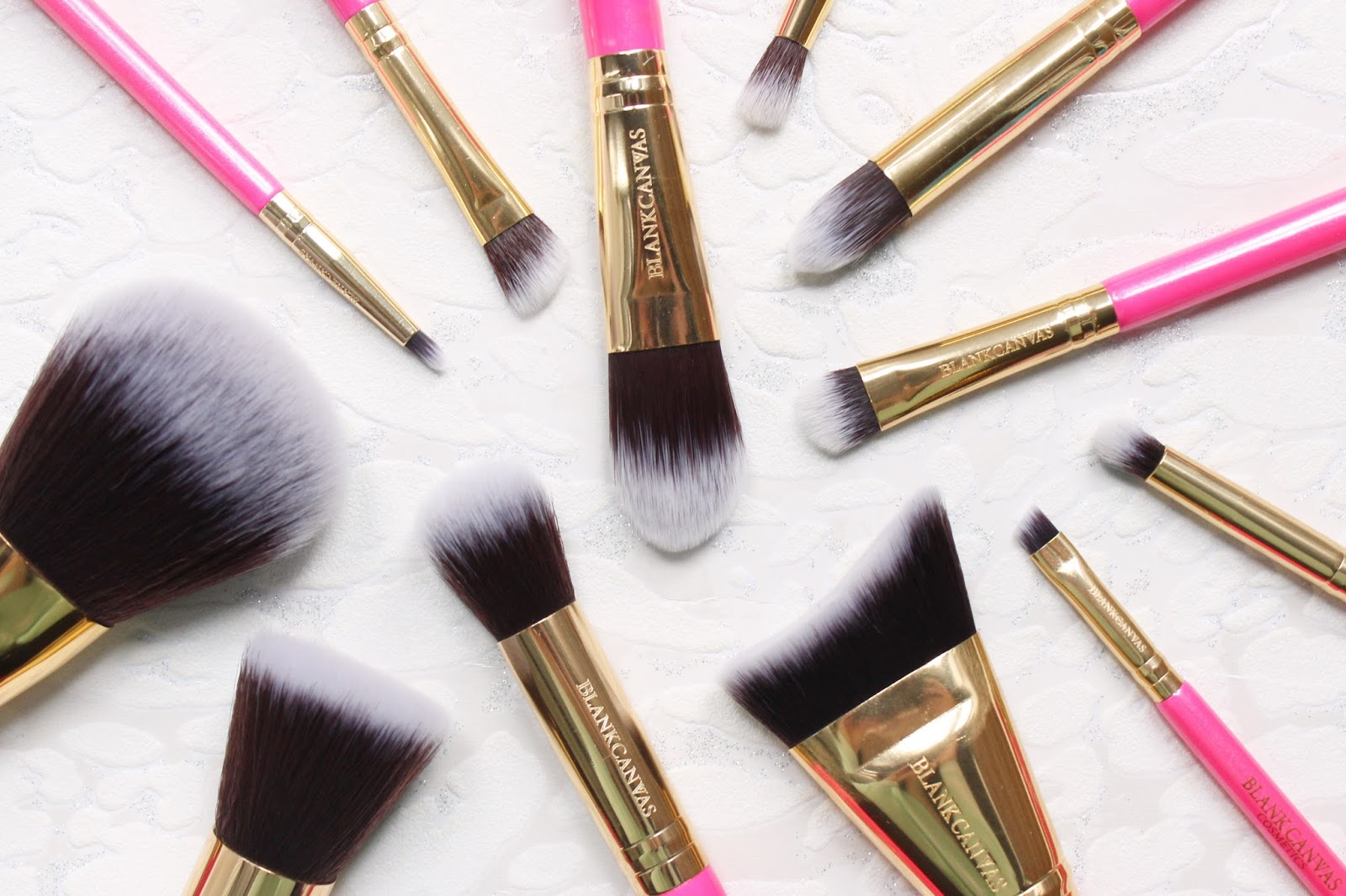 Blank Canvas 12 Piece Hot Pink & Gold Brush Set