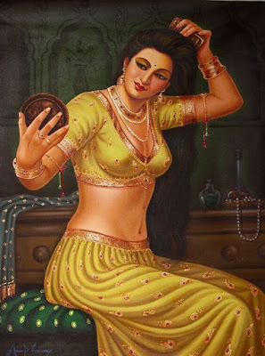 Beautiful Artwork Of Indian Lady Dressing Herself By Famous Artist Anup Gomay.