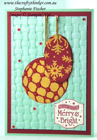 #thecraftythinker  #stampinup  #cardmaking  #stencilfromdies  #christmascard  #xmascard  #detailedbaubles , make your own stencil/mask, Christmas card, Blizzard, Baubles, Stampin' Up Australia Demonstrator, Stephanie Fischer, Sydney NSW