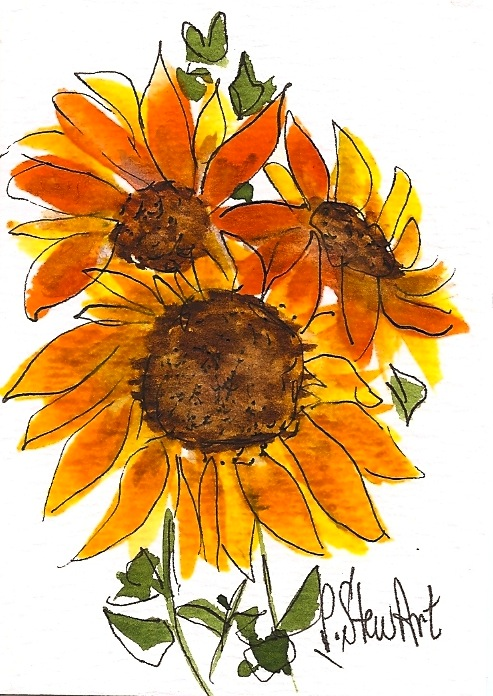 ACEO, 3 Sunflowers