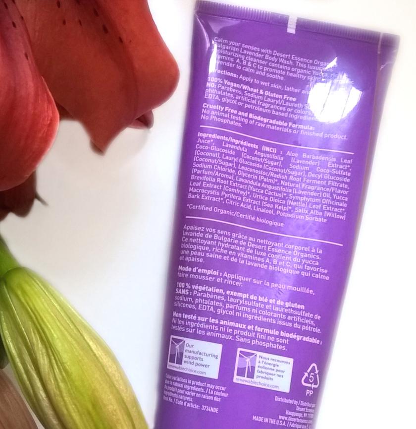 Desert Essence, żel pod prysznic Bulgarian Lavender skład inci