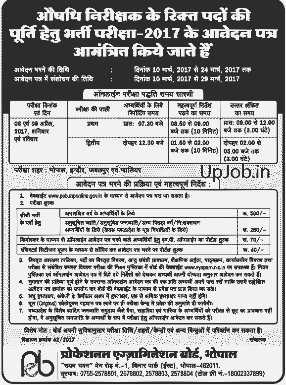 MP Drug Inspector Vacancy 2017 Vyapam PEB