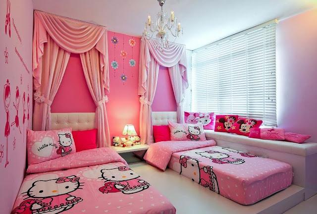 Gambar Kamar Tidur Hello Kitty Anak Perempuan Pink Modern