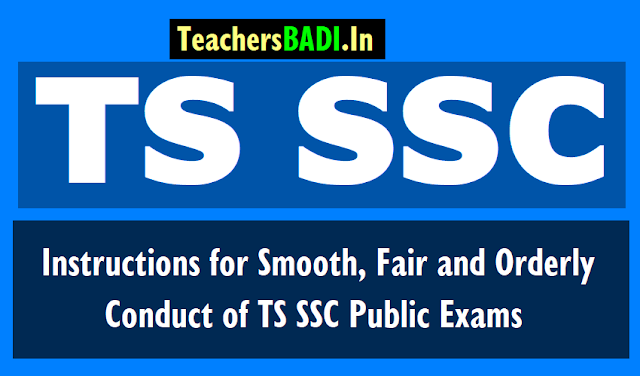 instructions for smooth conduct of ts ssc 2019 public exams,ts dge dse guidelines,appointment of invigilators,cc cameras in exam centers,fair orderly conduct of ts ssc exams 2019
