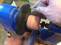 Sanding the cylinder