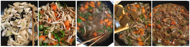 5 pictures showing the key steps in making curry-rice using a curry roux block