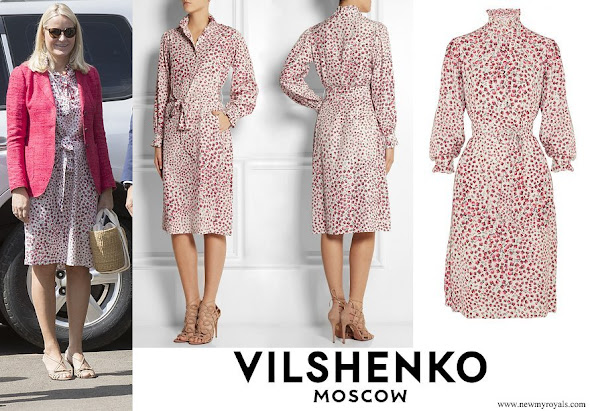 Crown Princess Mette Marit wore Vilshenko Heidi Belted Printed Silk dress