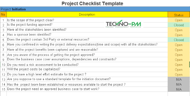 Project Management Checklist Template