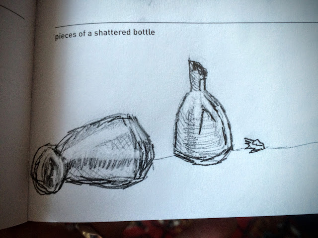 Drawing Pieces of a Shattered Bottle via facedances.blogspot.com