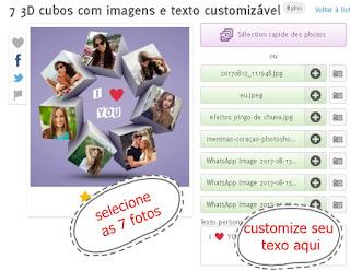 3d imagens em cubos 7 fotos customizáveis