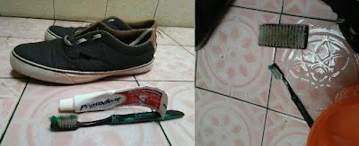 membersihkan sepatu dengan odol