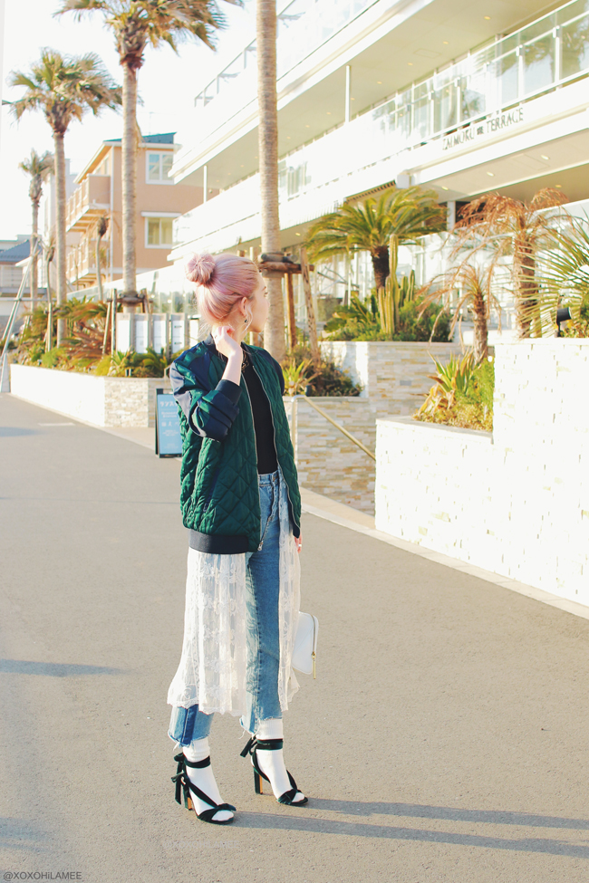 Japanese Fashion Blogger,MizuhoK,0311OOTD,Zara-bomber jacket,green velvet sandals,JEANASIS nonsleeve,JEANS-Rosegal,3.1 Phillip Lim-bag