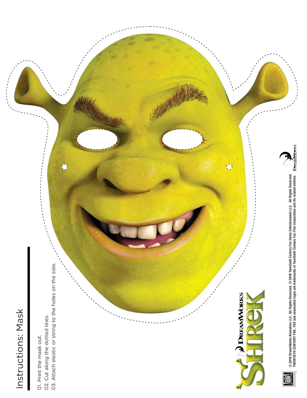 Shrek photo booth props print free printable shrek mask for Donkey face mask template