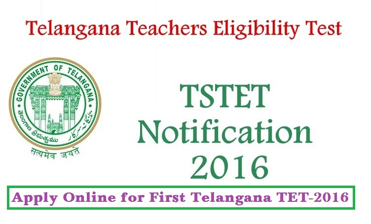 Apply Online for Telangana TET Notification Released Telangana State Teachers Eligibility Test-2016 Notification and Schedule Released Directorate of School Education, Telangana State has issued Notification for First Telangana TET Notification and Schedule  after formation Telangana State.  Online applications are invited from the eligible candidates who intend to be teachers for classes I to VIII in schools in Telangana State for appearance in the First Telangana Teacher Eligibility Test (TS-TET , 2016) to be conducted by Department of School Education, Government of Telangana State on 1st May , 2016 in all 10 Districts of the State. http://www.tsteachers.in/2016/03/tstet-2016-telangana-tet-teachers-eligibility-test-notification.html