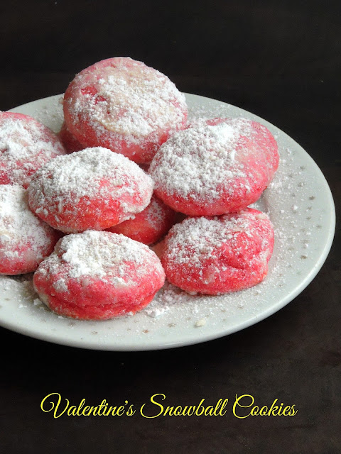 Valentine's Snowball Cookies, Rose Snowball Cookies