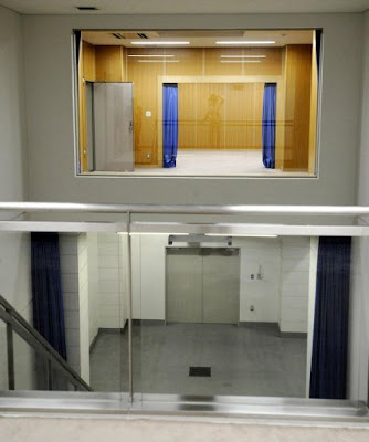 The gallows, as seen from the witness gallery, Tokyo Detention Center.