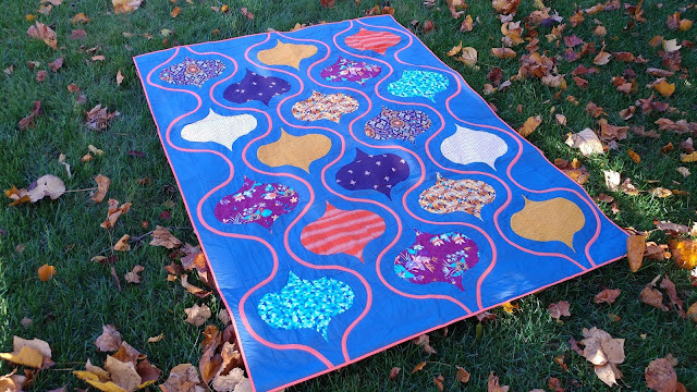 The Finial quilt by Slice of Pi Quilts using Aura fabrics by Mister Domestic for Art Gallery Fabrics
