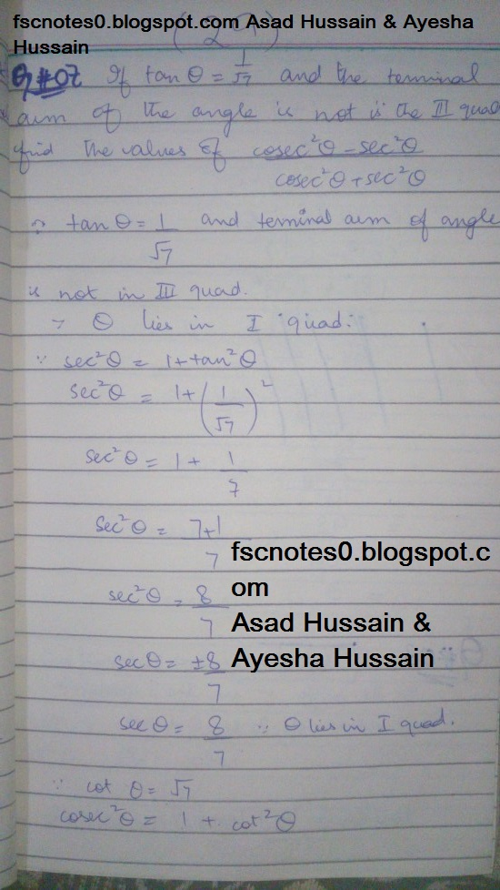 FSc ICS FA Notes Math Part 1 Chapter 9 Fundamentals of Trigonometry Exercise 9.2 Question 5 - 8 by Asad Hussain & Ayesha Hussain 2