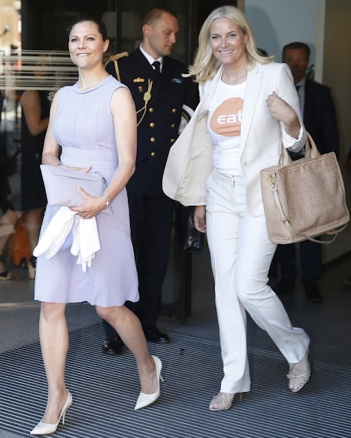 Crown Princess Mette-Marit of Norway and Crown Princess Victoria of Sweden attend EAT Stockholm Food Forum at the Clarion Hotel