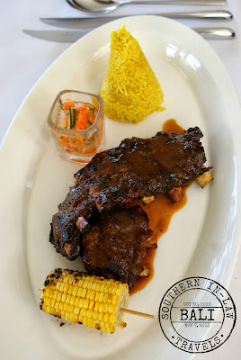 The Viceroy Bali, Ubud Review - CasCades Restaurant - Gluten Free in Bali - Pork Ribs with Yellow Rice, Corn Cob and Traditional Spices