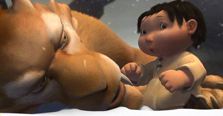 Sid and the human child in Ice Age 2002 animatedfilmreviews.filminspector.com
