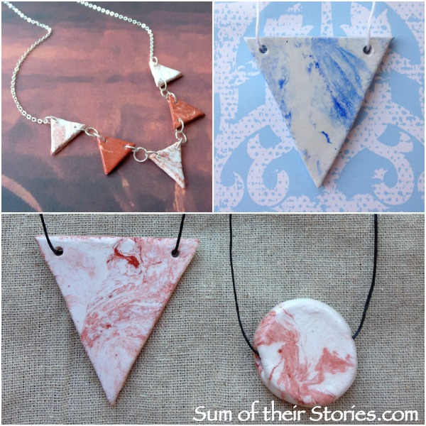 Marbled Jewellery with air hardening clay
