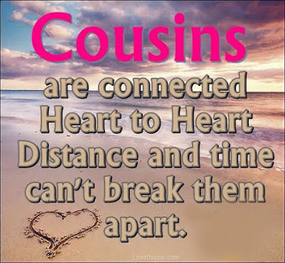 Happy Birthday wishes for cousin: cousins are connected heart to heart distance