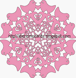 hearts and birds snowflake