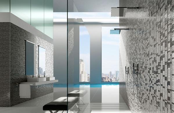 atau mendekor ulang kamar mandi menggunakan keramik mozaik di lantai atau di  Kamar Mandi Unik dengan Dinding Mozaik Warna- Warni Dengan PenataanYang Simpel