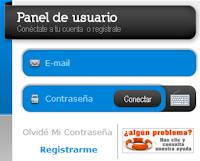 Cuadro de acceso o registro en Insertia